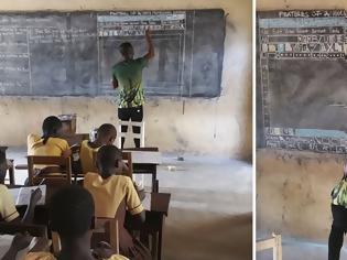 Φωτογραφία για Δάσκαλος στην Γκάνα διδάσκει Πληροφορική σε μαυροπίνακα και ζωγραφίζει στο χέρι όλο το Word