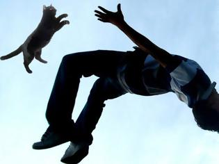 Φωτογραφία για Άνδρας έμαθε παρκούρ όταν πήγε να πετάξει τα σκουπίδια σε κάδο που είχε μέσα γάτα