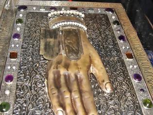Φωτογραφία για Το ακρωτηριασμένο από τους μονοφυσίτες δεξί χέρι του Οσίου Μαξίμου του Ομολογητού που φυλάσσεται στην Ι.Μ. Αγίου Παύλου