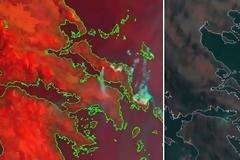 Η μεγάλη φωτιά στην Εύβοια όπως την καταγράφει ο δορυφόρος