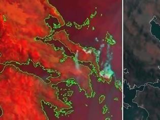 Φωτογραφία για Η μεγάλη φωτιά στην Εύβοια όπως την καταγράφει ο δορυφόρος
