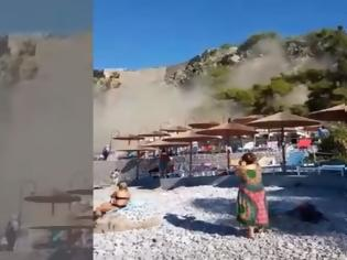 Φωτογραφία για βίντεο από τη στιγμή της κατολίσθησης σε παραλία του Ναυπλίου