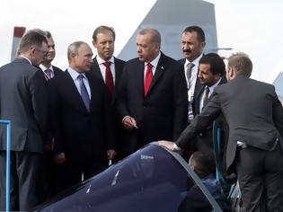 Φωτογραφία για Το «αόρατο» ρωσικό μαχητικό Su-57 παρουσιάστηκε στον Ερντογάν στη Μόσχα