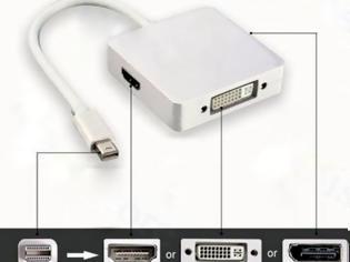 Φωτογραφία για Apple Macbook 3πλος αντάπτορας αποMini DisplayPort σε HDMI-DVI 1-DisplayPort