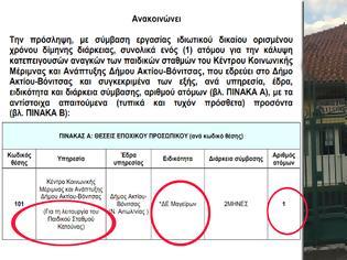 Φωτογραφία για ΚΕΝΤΡΟ ΜΕΡΙΜΝΑΣ ΔΗΜΟΥ ΑΚΤΙΟΥ-ΒΟΝΙΤΣΑΣ: Ανακοίνωση πρόσληψης ενός ΔΕ Μάγειρα, διάρκειας δύο (2) μηνών στον Παιδικό Σταθμό Κατούνας