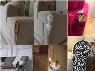 Φωτογραφία για ΚΑΤΑΣΚΕΥΕΣ - Πως να επιδιορθώσετε τον παλιό,σχισμένο & γδαρμένο καναπέ σας με στυλ