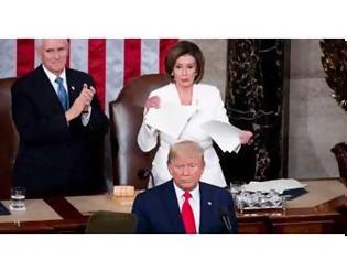 Φωτογραφία για O Ντ.Τραμπ κήρυξε τον πόλεμο στη Ν.Πελόζι: Δεν της έδωσε το χέρι και αυτή έσκισε την ομιλία του (video)