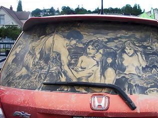 Φωτογραφία για Έργα τέχνης σε σκονισμένα αυτοκίνητα! (Photos)