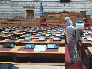 Φωτογραφία για Απολύμανση και στη Βουλή – Άσπρες στολές και γάντια στην Ολομέλεια