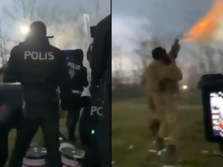 Φωτογραφία για Έβρος- Τούρκοι ρίχνουν χημικά με βομβιδοβόλα στον φράχτη