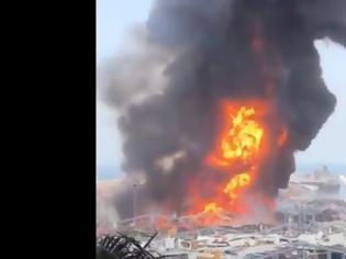 Φωτογραφία για Βηρυτός: Φωτιά ξέσπασε στα συντρίμμια του λιμανιού