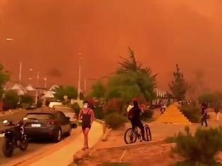 Φωτογραφία για Ο ουρανός έγινε κόκκινος στην Χιλή εξαιτίας των πυρκαγιών (vids)