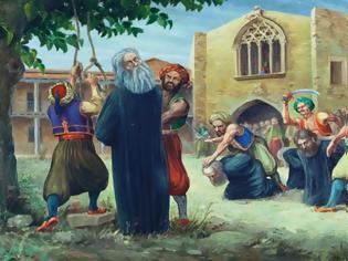 Φωτογραφία για Αφού λοιπόν ευλόγησε το σχοινί της αγχόνης, προσευχόμενος στράφηκε προς τον δήμιο και του είπε: «Εκτέλεσον ήδη, την προσταγήν του απηνούς κυρίου σου...»