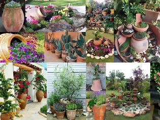 Φωτογραφία για Διαμόρφωση - διακοσμήσεις κήπου με Πήλινες γλάστρες - Πιθάρια