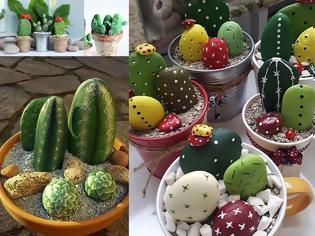 Φωτογραφία για DIY Διακοσμητικά κακτάκια από βότσαλα - πέτρες