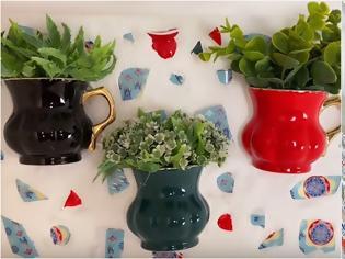 Φωτογραφία για DIY Ψηφιδωτά τοίχου με φυτά από σπασμένες κούπες