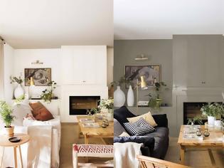 Φωτογραφία για Το ίδιο σαλόνι διακοσμημένο με δύο διαφορετικές χρωματικές παλέτες