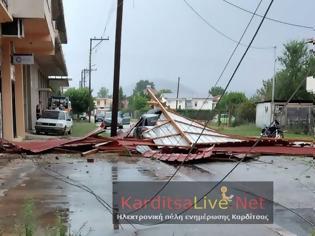 Φωτογραφία για Καρδίτσα: Εικόνες καταστροφής μετά από ισχυρό μπουρίνι
