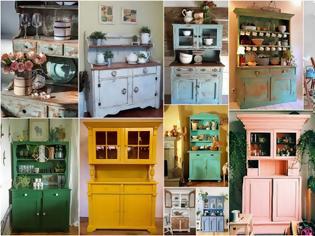 Φωτογραφία για Έπιπλα παλαιωμένης όψης για την Κουζίνα από παλιά σύνθετα - βιτρίνες