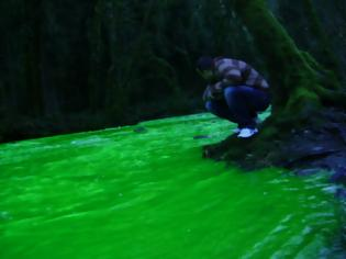 Φωτογραφία για Το ποτάμι έγινε πράσινο και …φωσφορίζει!