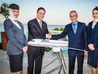 Φωτογραφία για Tα πέντε χρόνια των απευθείας δρομολογίων από Αθήνα προς Άμπου Ντάμπι γιορτάζουν η Etihad Airways και η Aegean Airlines