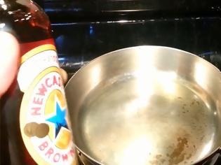 Φωτογραφία για Τι συμβαίνει όταν ρίξεις μπύρα σε ζεματιστό τηγάνι; Απλά μαγικό... [video]