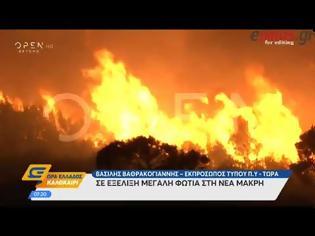Φωτογραφία για Σε εξέλιξη μεγάλη πυρκαγιά στη Νέα Μάκρη